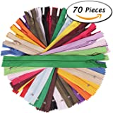 Paxcoo 70Pcs 12 Inch Assorted Zippers Bulk for Sewing Craft
