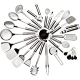 29 Piece Stainless Steel Kitchen Utensils Set – Durable, Non Stick Coating, Ergonomic Handle & Dishwasher Safe Cookware – Heat Resistant Silicone Bent Handles For Superior Grip – Great Gift Idea