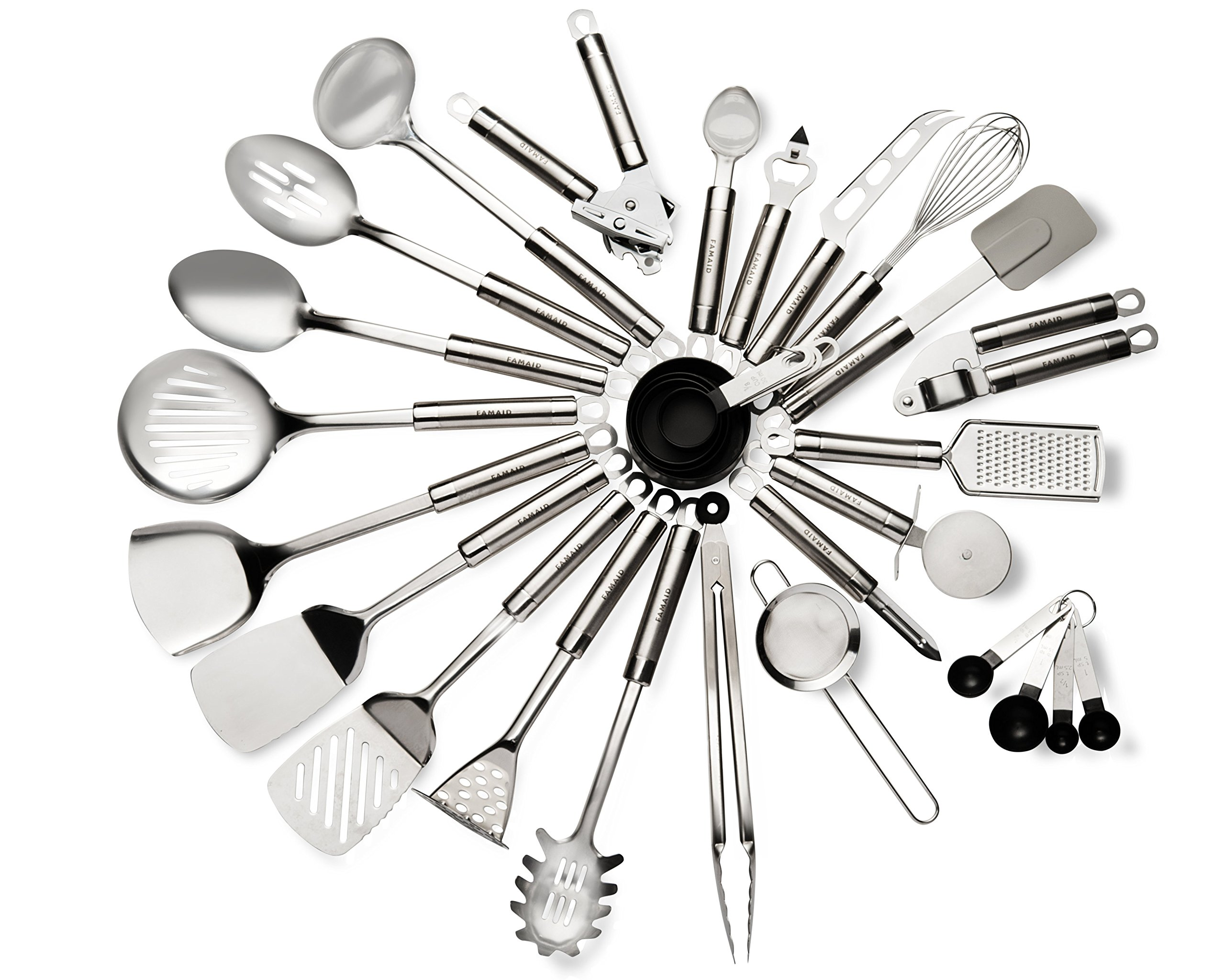 Stainless Steel Kitchen Utensil Set - 29 Cooking Utensils - Durable, Non Stick Cting, Ergonomic Handle & Dishwasher Safe Cookware - Heat Resistant - Handles For Superior Grip - Great Gift Idea by Famaid