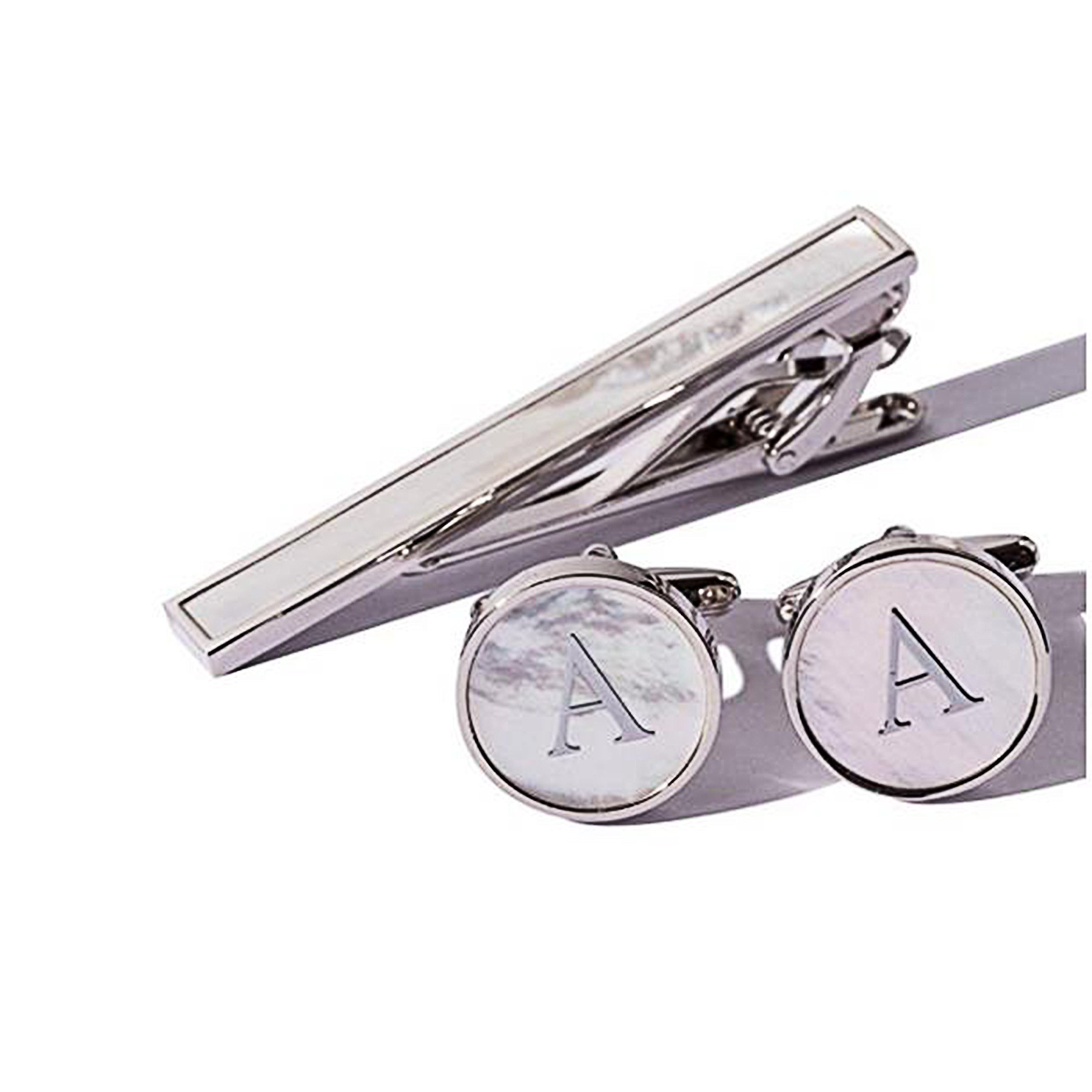 Digabi Platinum Plated 18K Mother of Pearl Tie Clip and Letter Cufflinks(Silver A)