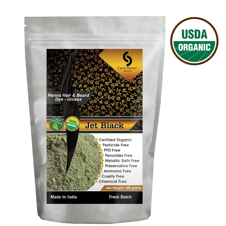 Cavin Schon USDA Certified Organic Jet Black Henna - 100% Natural/Organic & Chemical Free Hair color/dye