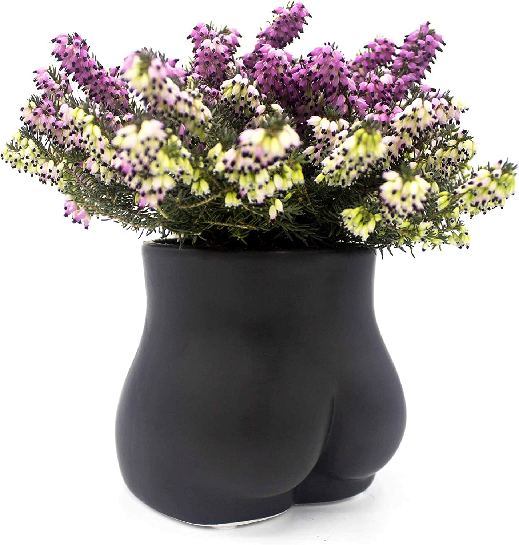 Luvberries - Body Flower Vase for Decor, Modern Home Decor, Accent Piece for Living Room, Indoor Planter, Shelf or Mantle, Table, Office, Desk, or Dorm (Bottom, Matte Black)