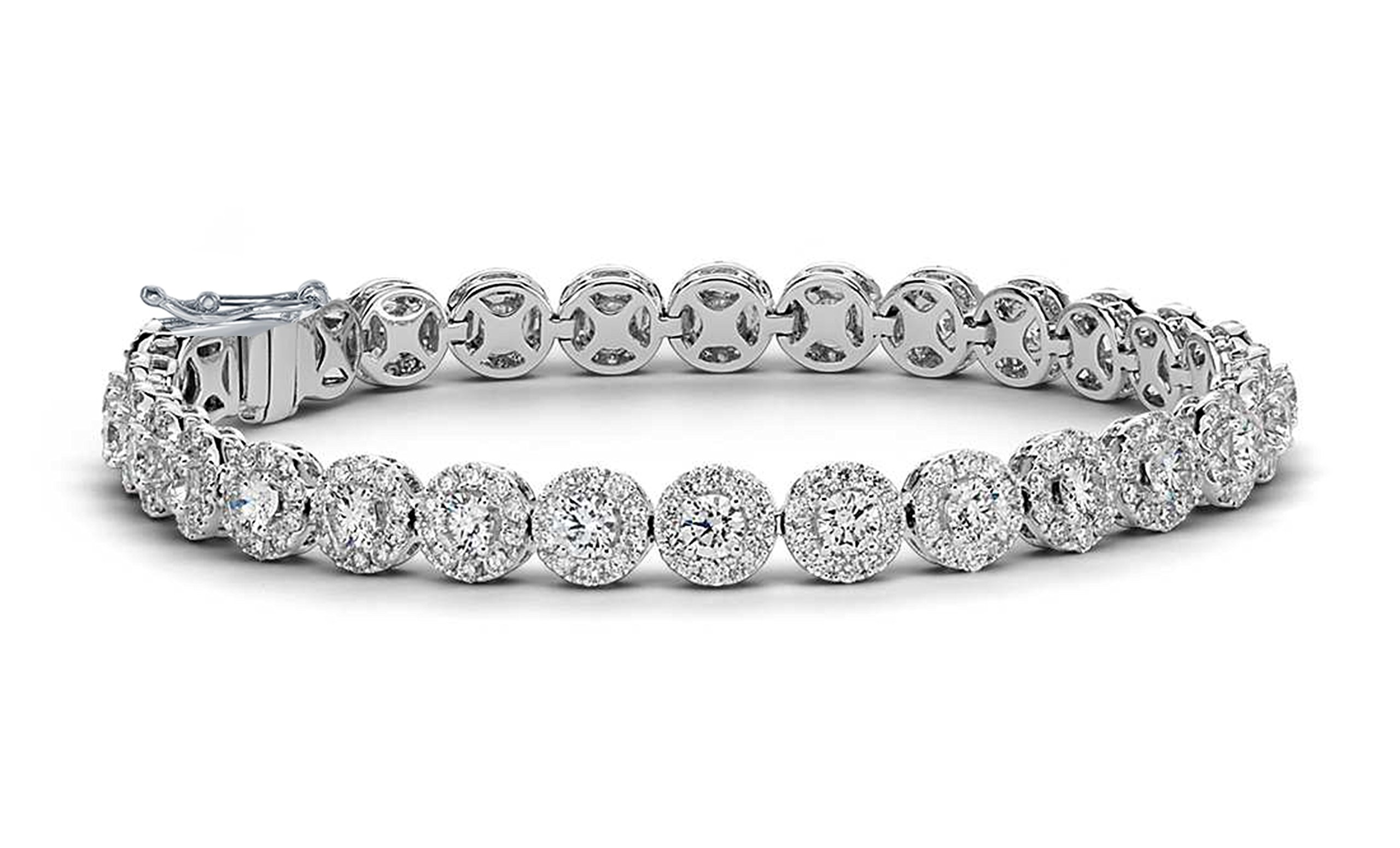 NYC Sterling Women 8MM Floral Halo Design Tennis Bracelet