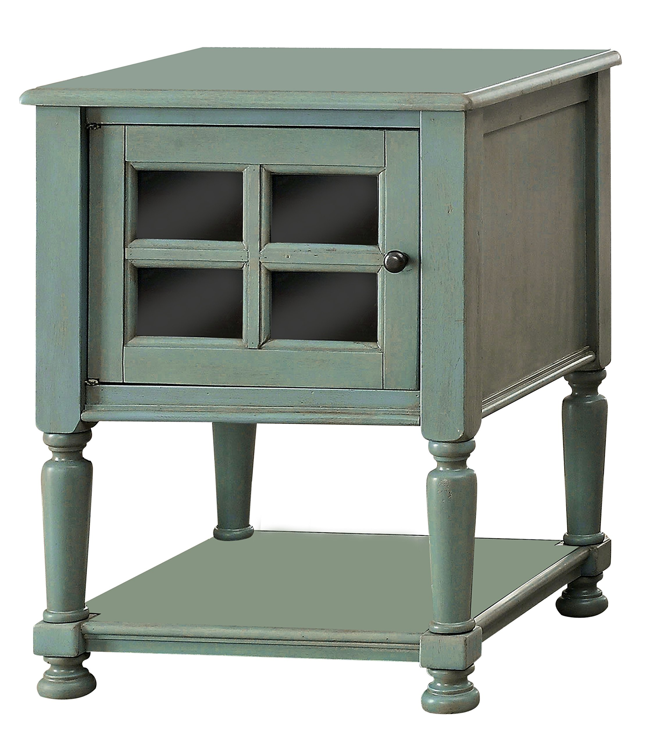ComfortScape Mella Window Cabinet Storage Side Table in Antique Teal