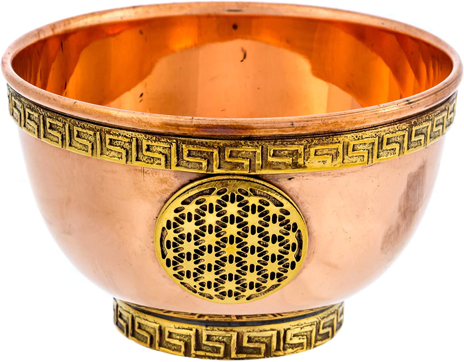 Alternative Imagination Flower of Life Copper Offering Bowl for Altar Use, Rituals, Incense, Smudging, Decoration, and More