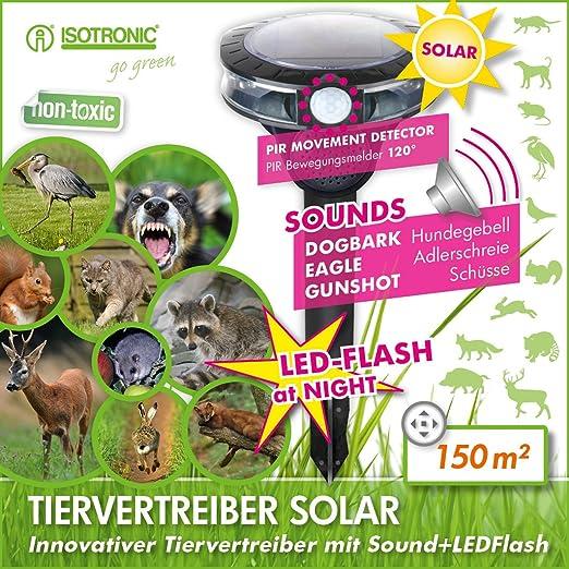 ISOTRONIC Ahuyentador ultrasonidos solar para animales gatos ...