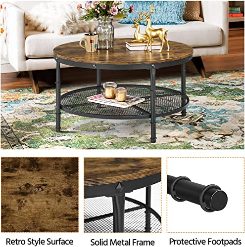 Yaheetech 2-Tier Rustic Round Coffee Table w/Iron Mesh Storage Shelf