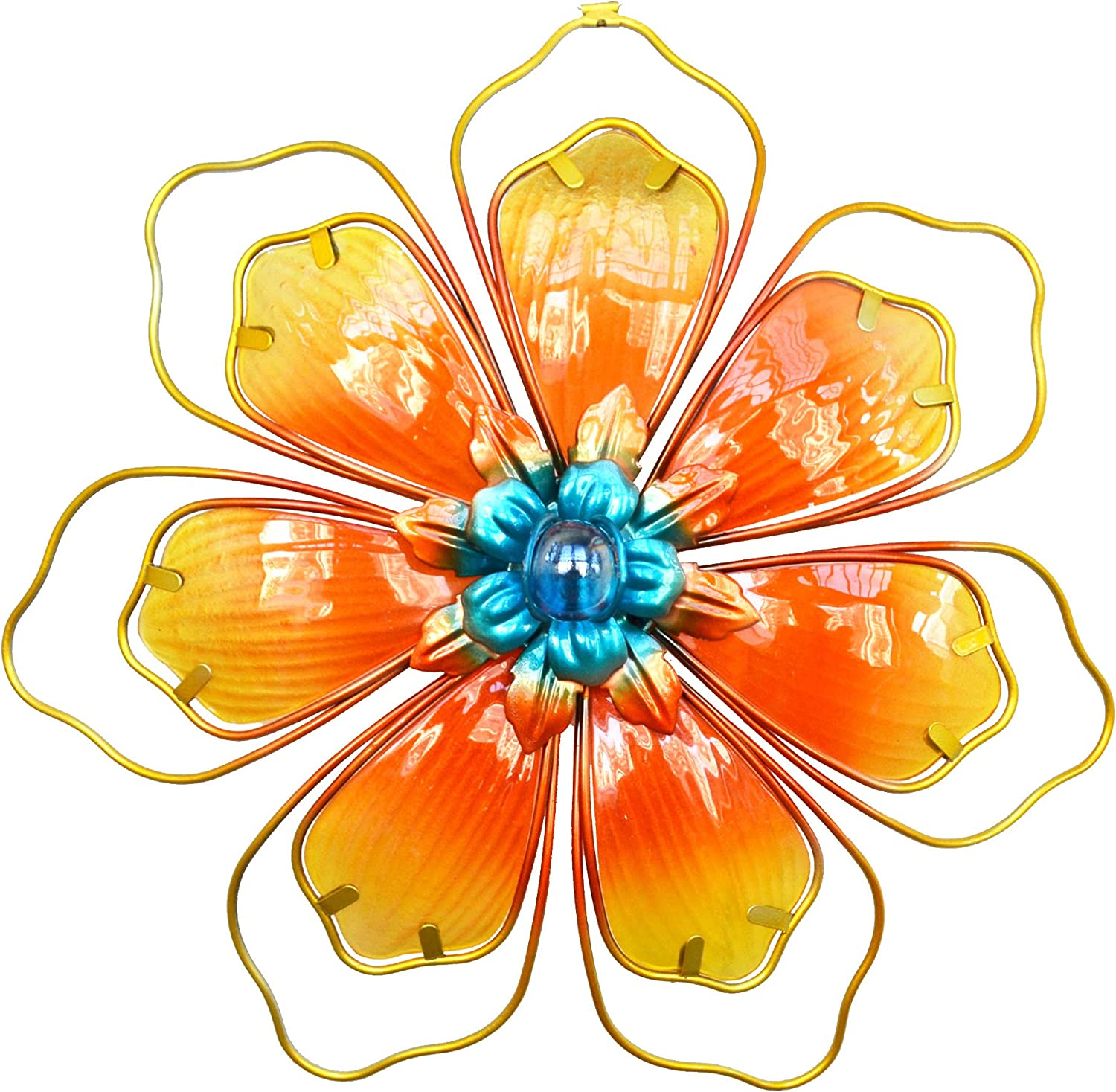 GIFTME 5 Metal Stained Glass Floral Wall Art Decor Livingroom Bathroom Bedroom Sunflower Home Decor(12.5Inch,Yellow)