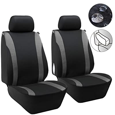 Elantrip Waterproof Front Seat Covers Car Water Repellent Bucket Seat Cover Universal Fit Airbag Armrest Compatible Black and Grey 2 PC: Automotive