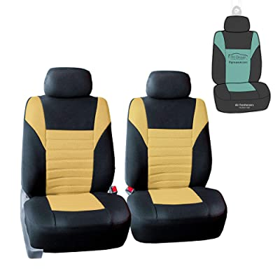FH Group FB068102 Premium 3D Air Mesh Seat Covers Pair Set (Airbag Compatible) w. Gift, Yellow/Black Color- Fit Most Car, Truck, SUV, or Van: Automotive