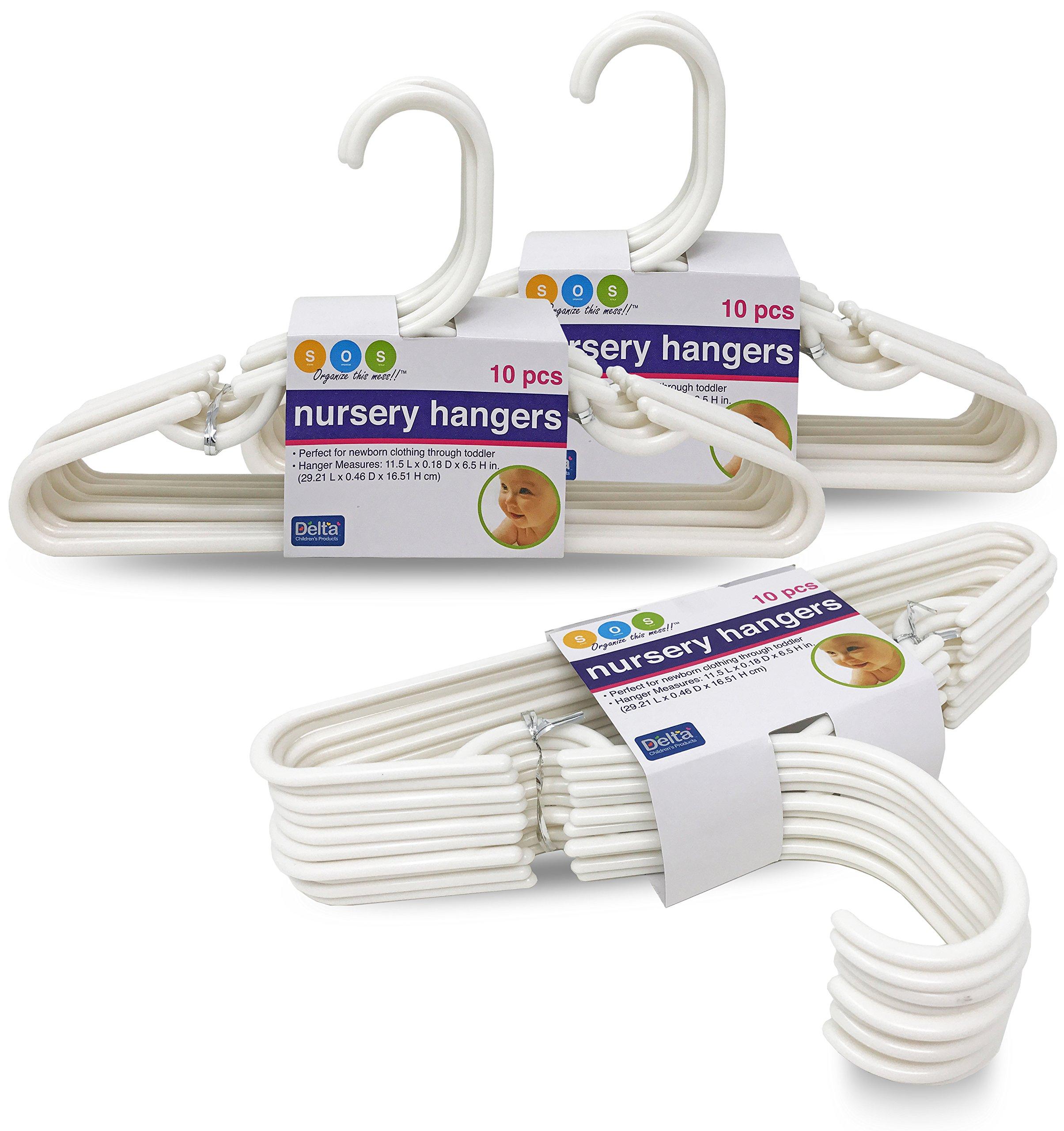 Delta White Nursery Hangers 30 Pack For Baby, Toddler, Kids, Children (3 Packs of 10)