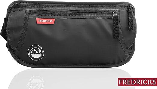 durante viajes y actividades deportivas pasaportes, tarjetas Con bloqueador de RFID Bolsa de cintura secreta para hombres y mujeres ideal para guardar objetos valiosos Negro Fredricks