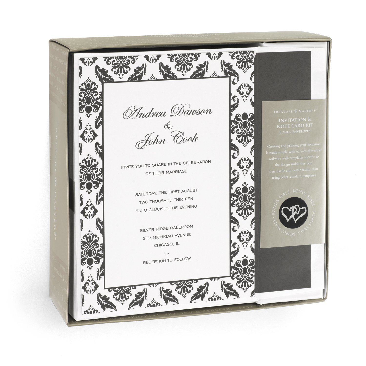 Amazon.com: Hortense B. Hewitt Wedding Accessories Print Yourself Invitation  Kit, Damask Border, Pack Of 50: Home U0026 Kitchen