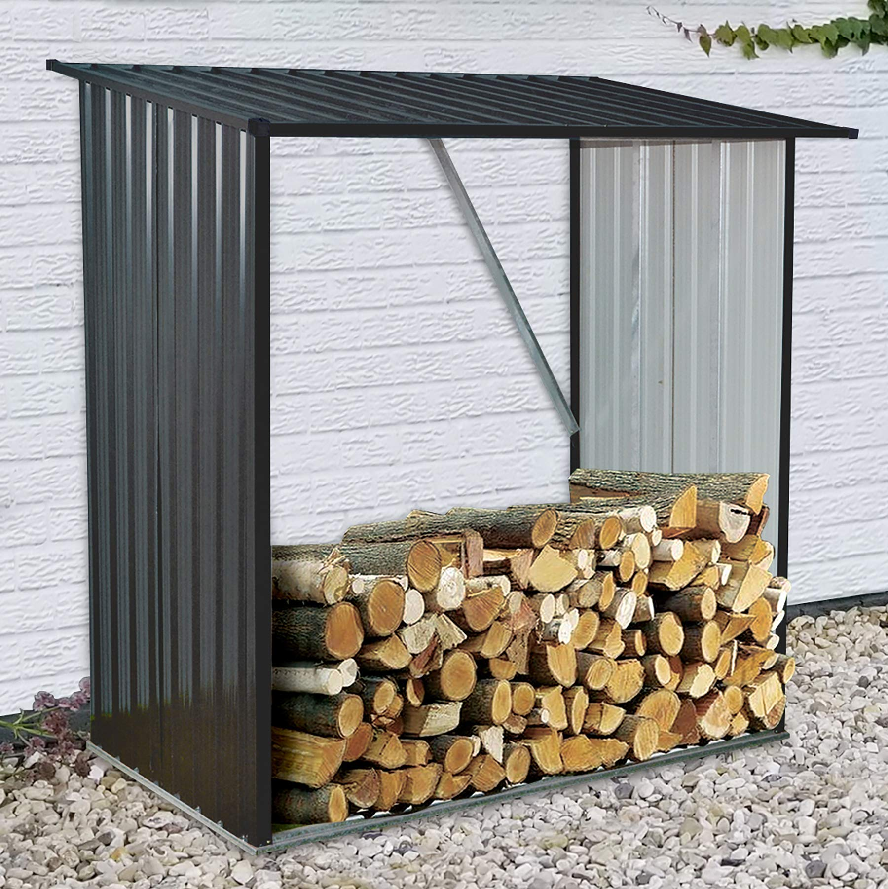 Hanover HANWDSHD-Gry Holds up to 55 CU. FT. of Stacked Indoor/Outdoor Galvanized Steel Firewood Storage Rack, Gray by Hanover