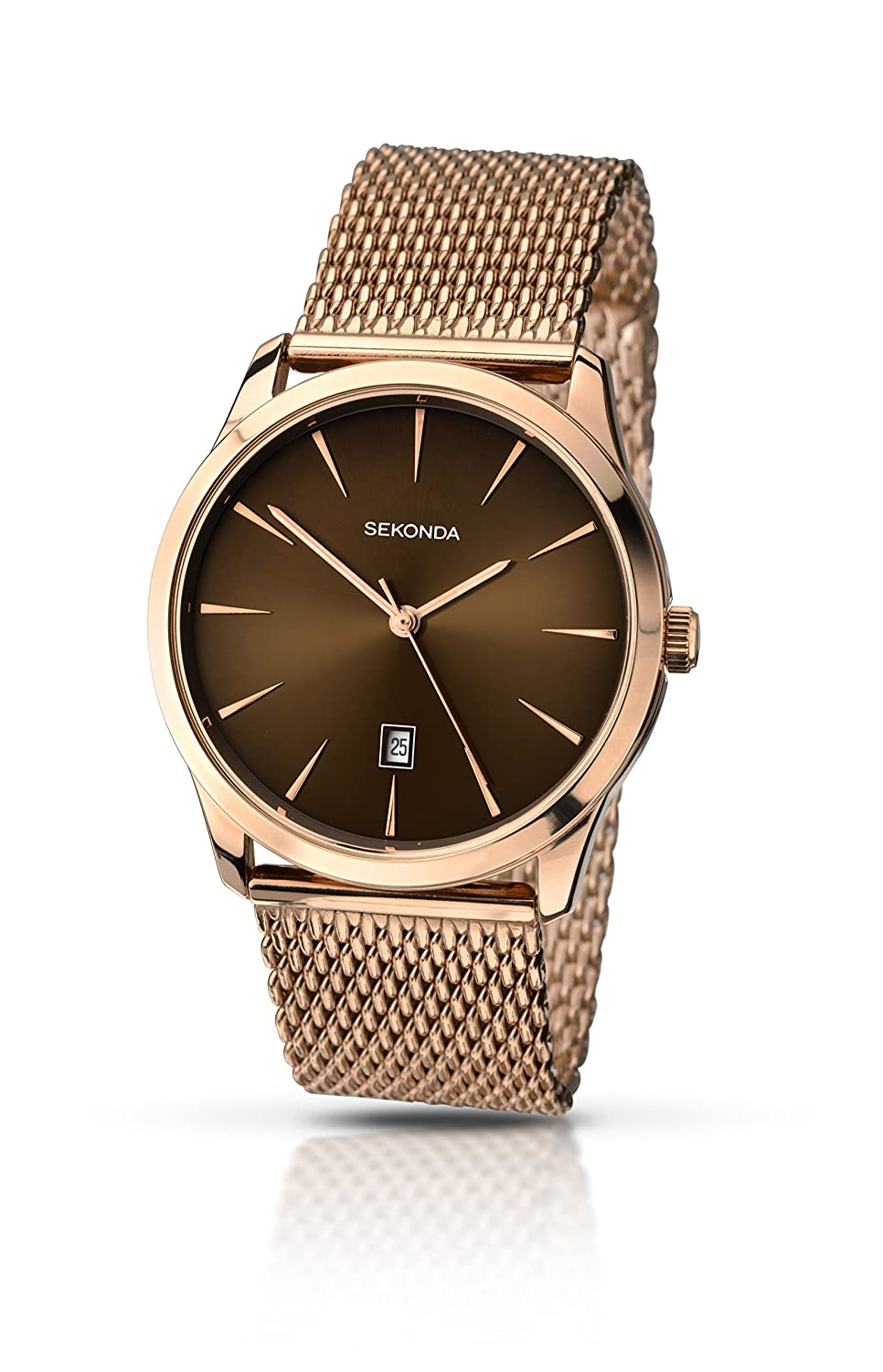 Sekonda Mens Quartz Watch With Brown Dial Analogue Display And Rose