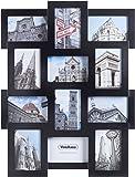 """VonHaus Black Wooden 12 Multi Aperture Photo Frame to Fit 6""""x4"""" Photos"""