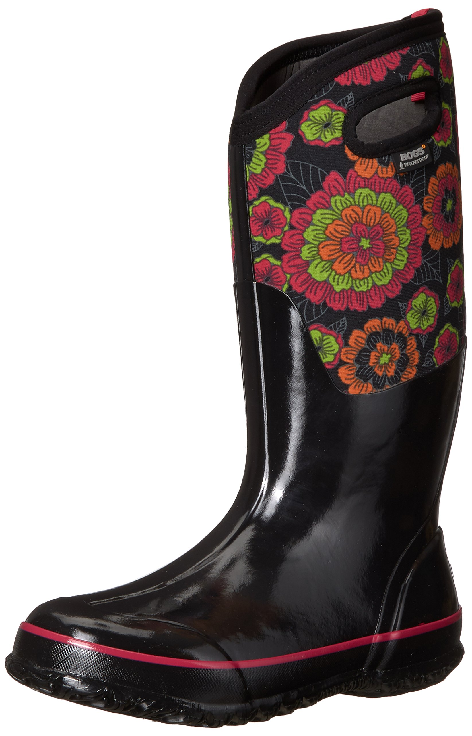 Bogs Women's Classic Pansies Snow Boot, Black/Multi, 9 M US