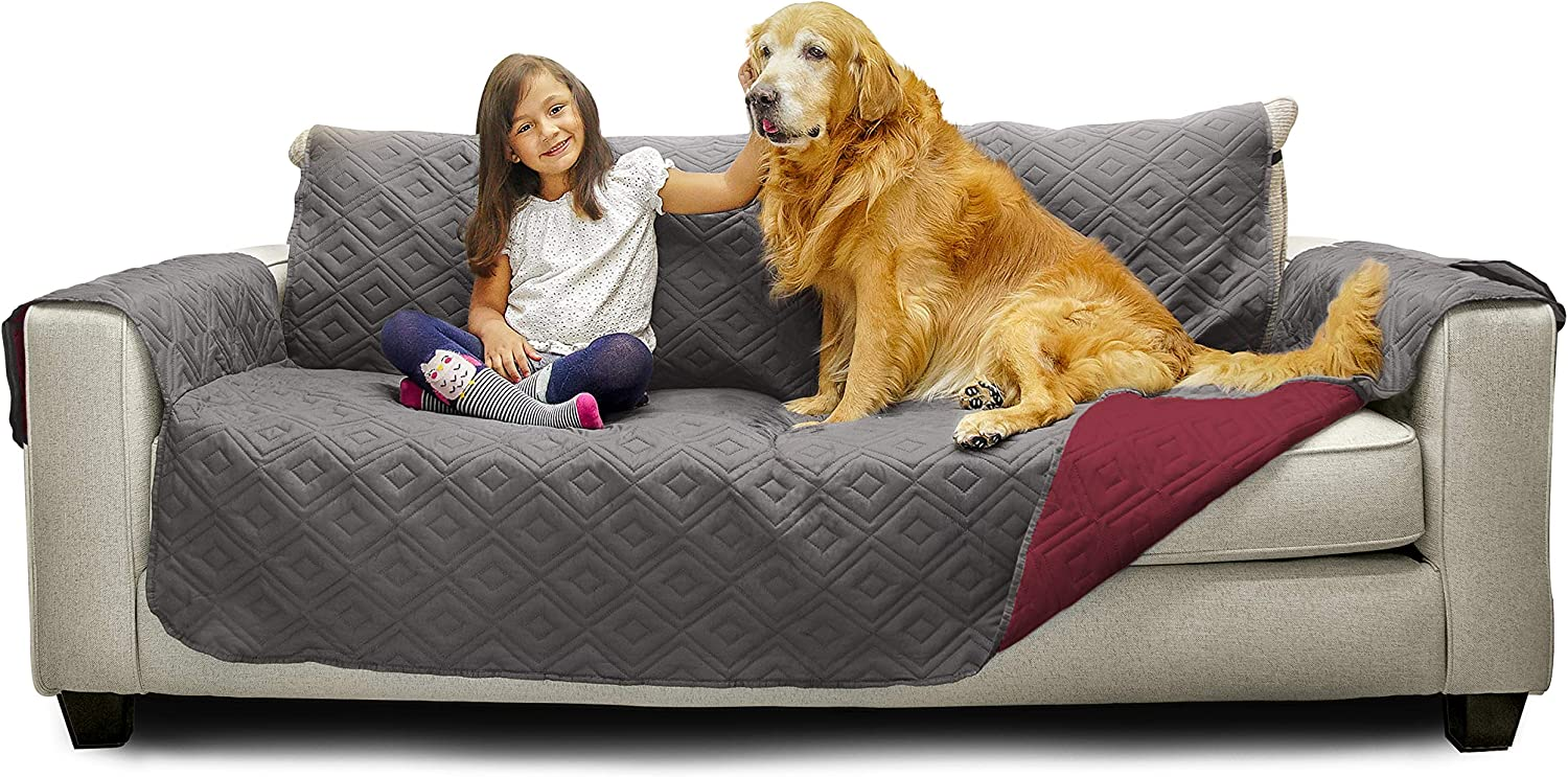 "Mary Maxim Furniture Covers - Quilted Couch Slipcover and Furniture Protector for Dogs, Cats, Pets, & Kids - Side Pockets, Elastic Strap & Water Resistant (70"" Sofa, Dark Grey & Maroon)"