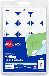"Avery 1"" Round Stickers for Laser and Inkjet Printers, White, Non-Perforated, 600 Stickers (5247)"