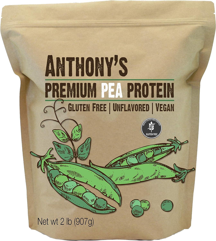 Anthonys Proteína de guisante premium, 2 libras, a base de plantas, sin gluten, sin sabor, vegana, cetogénica