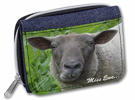 Advanta - Cartera de Tela Vaquera con diseño de Oveja Miss Ewe (You) Sentiment