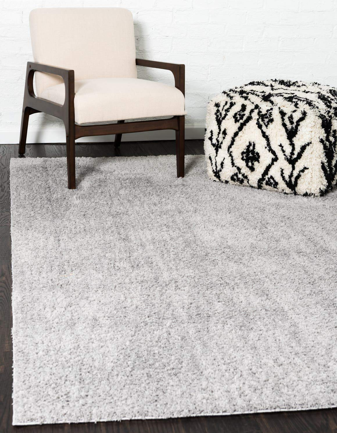 Unique Loom Serenity Solid Shag Collection Super Soft Micro Polyester Light Gray Area Rug 4 0 x 6 0