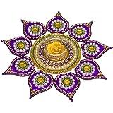 Krisah SMALL SIZE 11 Pieces Set Acrylic Rangoli with T Light Holder Multicolour Handicraft Jewel Stone Decorations (Small)