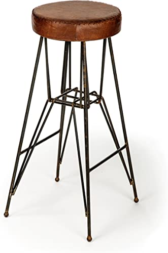 The Barrel Shack The Rockefeller – Handmade Tall Leather Stool from