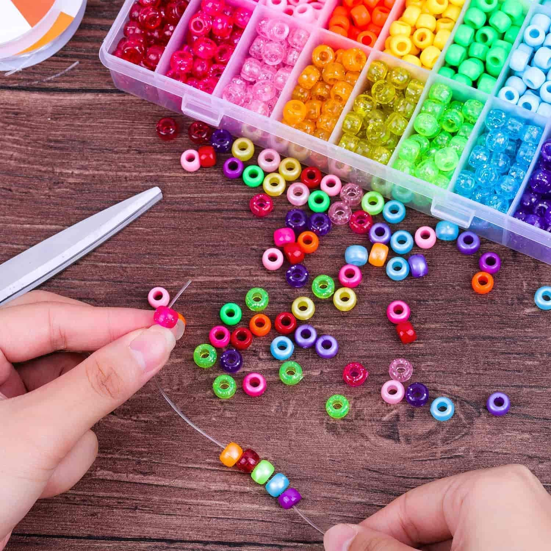 M-Aimee 7200 Pcs 4mm Pony Seed Beads Bracelet Beads Small Glass Rainbow Beads for Bracelet Jewelry Making Beads for Bracelets
