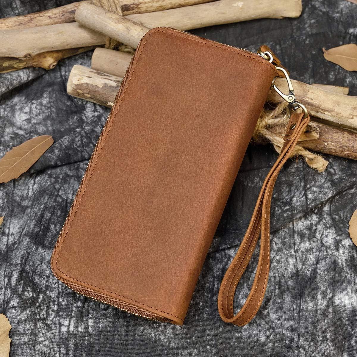 Sac /à Main en Cuir v/éritable pour Hommes Double Zipper Purse 4 Interlayer Zip-Around Wallet Marron