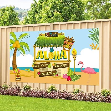 Amazon.com: Cartel de tela grande para fiesta de aloha de ...
