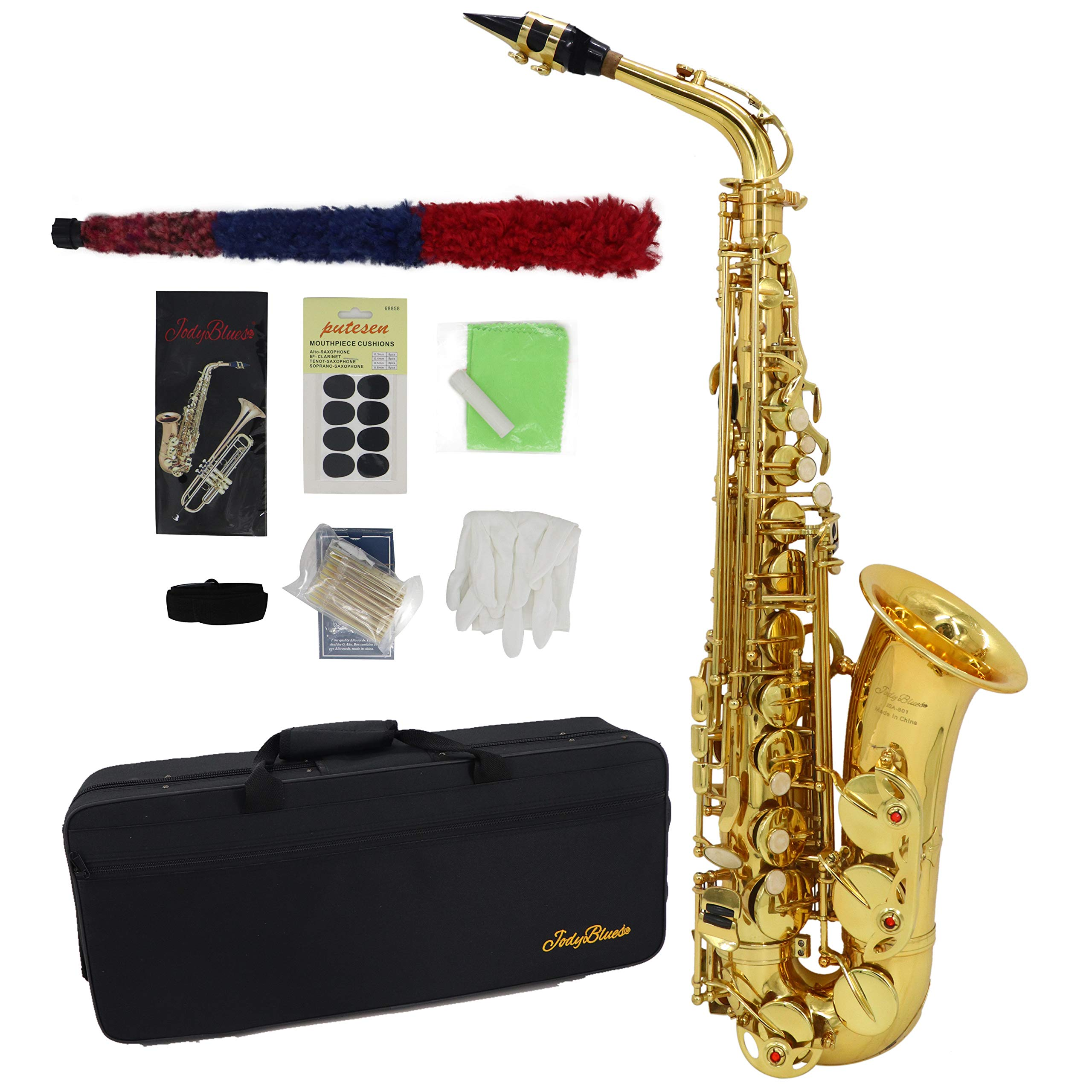 Alto Saxophone Jody Blues JAS-801 Gold Lacquer E Flat Beginner Student Sax with Tuner Mouthpiece Reeds Cloth Rod Gloves Pads Case by Jody Blues