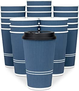 Glowcoast Disposable Coffee Cups With Lids - 16 oz To Go Coffee Cup (80 Set). Large Travel Cups Hold Shape With Hot and Cold Drinks, No Leaks! Insulated Ripple Cups Protect Hands, No Sleeves needed!