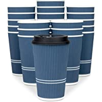 Glowcoast Disposable Coffee Cups With Lids - 16 oz To Go Coffee Cup (80 Set). Large...