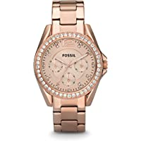 FOSSIL Riley Multifunction Rose-Tone Stainless Steel Watch / Analogue Quartz Women's Wrist Watch in Rose Gold with Zirconia Crystals and Date Function in Gift Box - Water Resistant