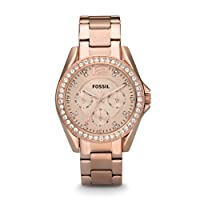 FOSSIL Riley Multifunction Rose-Tone Stainless Steel Watch – Analogue Quartz Women's Wrist Watch with Zirconia Crystals and Date Function in Gift Box - Water Resistant