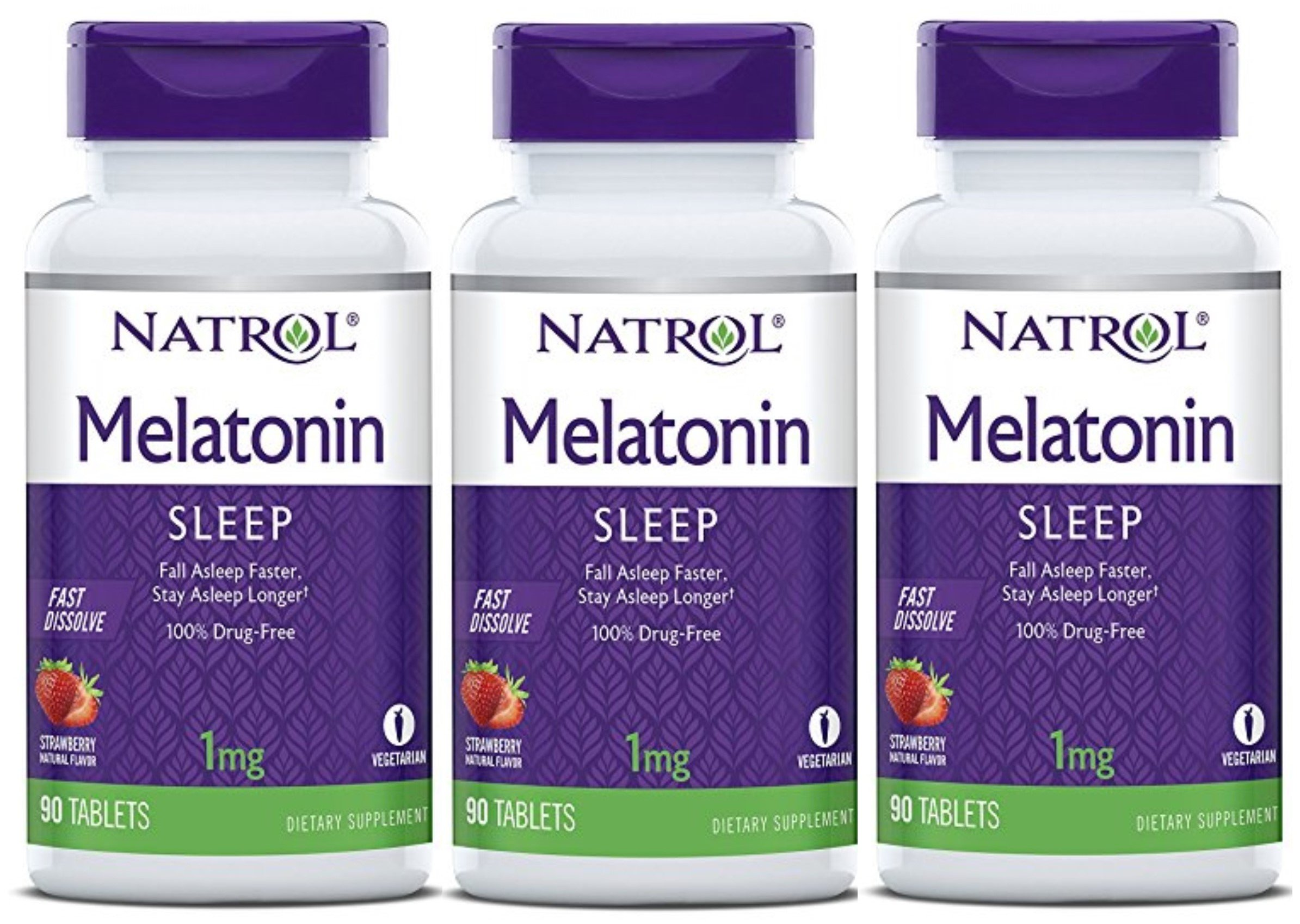 Natrol Melatonin 1mg Fast Dissolve Tablets, Strawberry, 90-Count (Pack of 3