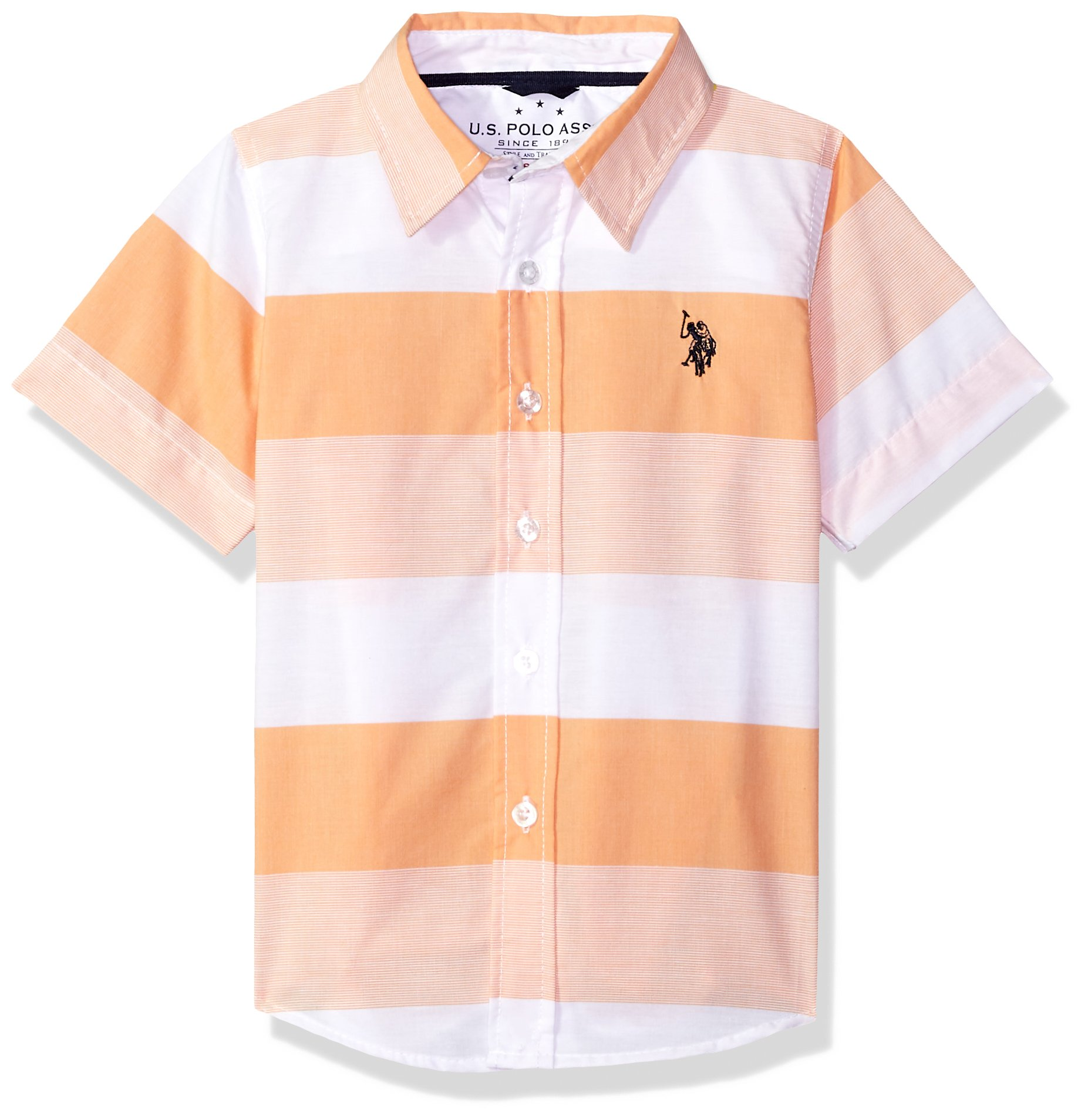 U.S. Polo Assn. Toddler Boys' Short Sleeve Striped Sport Shirt, White Stripes Orange Sand, 3T