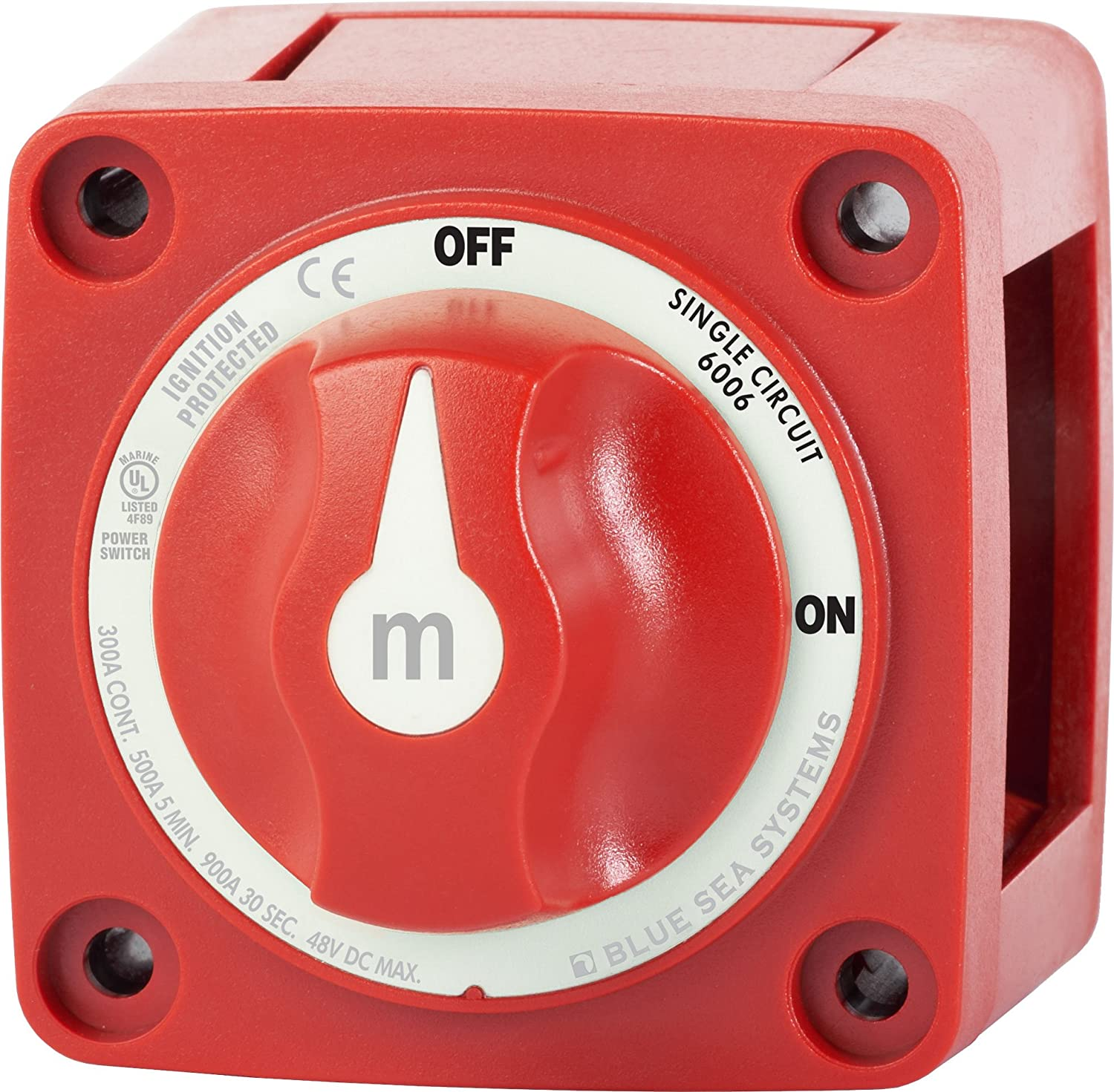 Blue Sea Systems 6006 M-Series Mini Battery Switch Single Circuit On//Off Red
