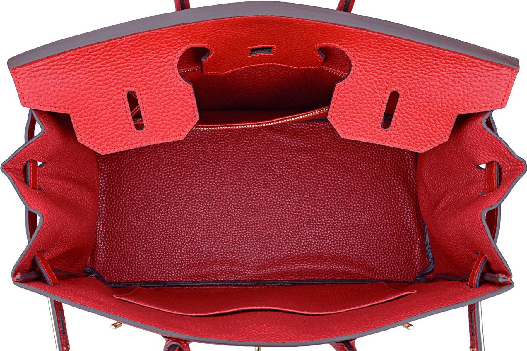 SanMario Designer Handbag Top Handle Padlock Women's Leather Bag with Golden Hardware Red 35cm/14'' by SanMario (Image #6)