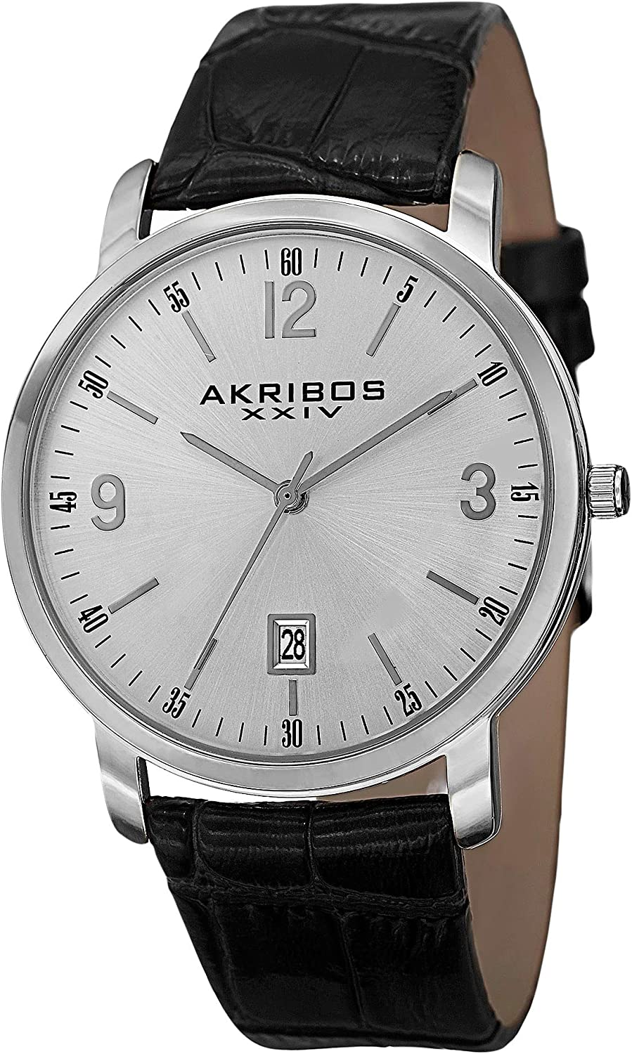 Akribos XXIV Men s Clear Classy Watch – Arabic Numeral Baton Hour Markers with Date Window On Genuine Embossed Crocodile Pattern Strap – AK780