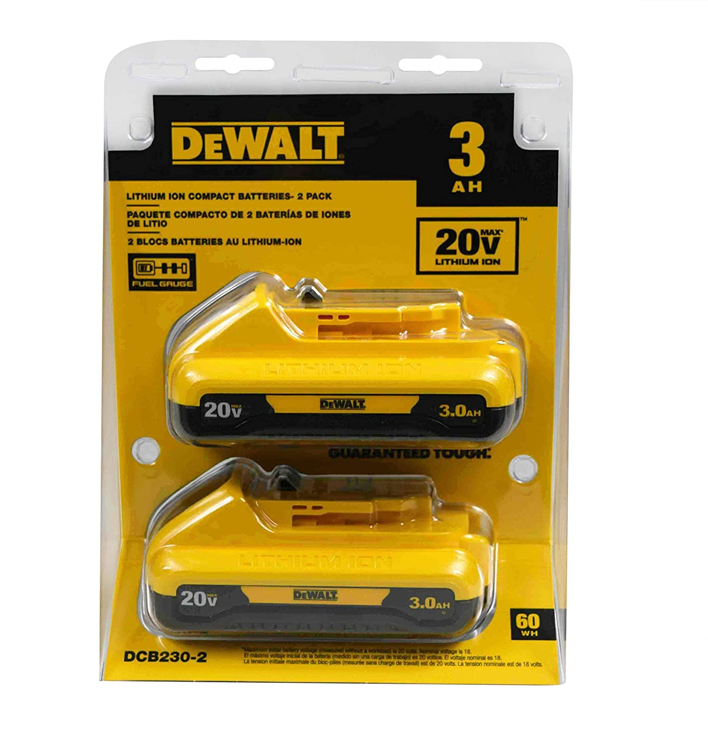 DEWALT DCB230-220V MAXLithium Ion Battery Pack 3.0Ah, 2 pack