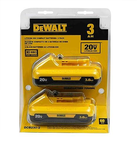 DEWALT DCB230-2 20V MAX Lithium Ion Battery Pack 3 0Ah, 2 pack