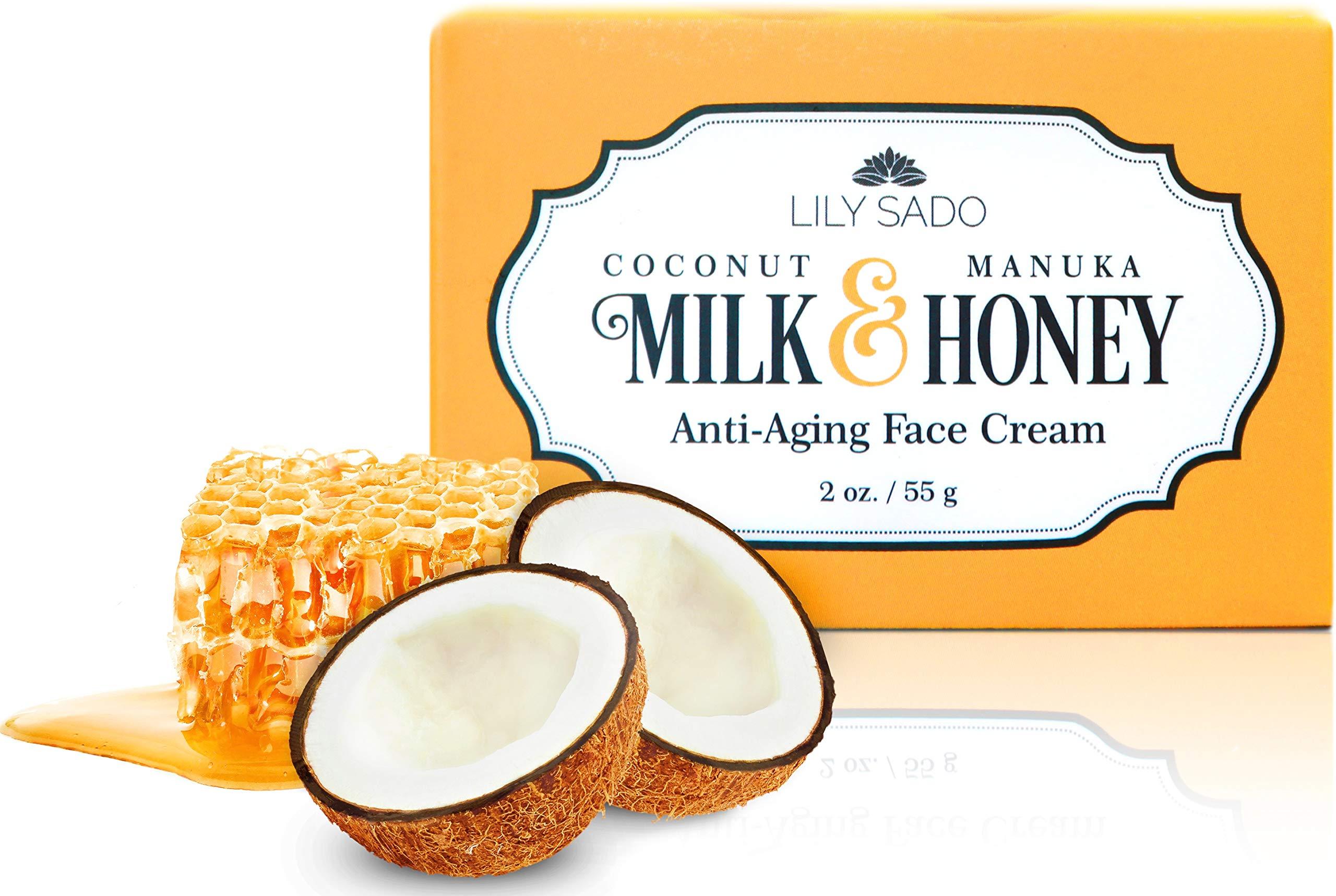 Coconut Milk + Manuka Honey Natural Face Moisturizer - Non Greasy Daily Facial Cream with Aloe