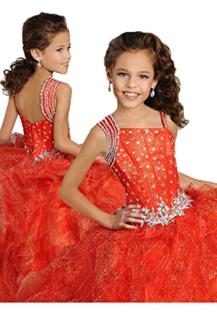 Amazon.com: Monkidoll Crystal Ruffles Girl Pageant Dresses Ball ...