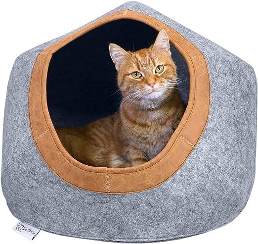 Kitty City Large Faux Leather Trimmed Felt Cat Cave, Felt Bed, Felt Lounge