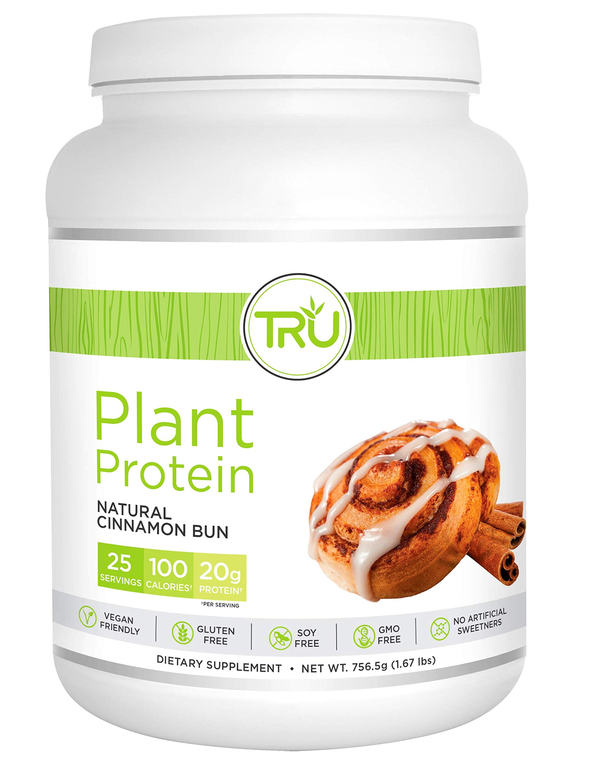 Tru Protein Cinnamon Bun - 25 Serving - Natural Plant Based Protein