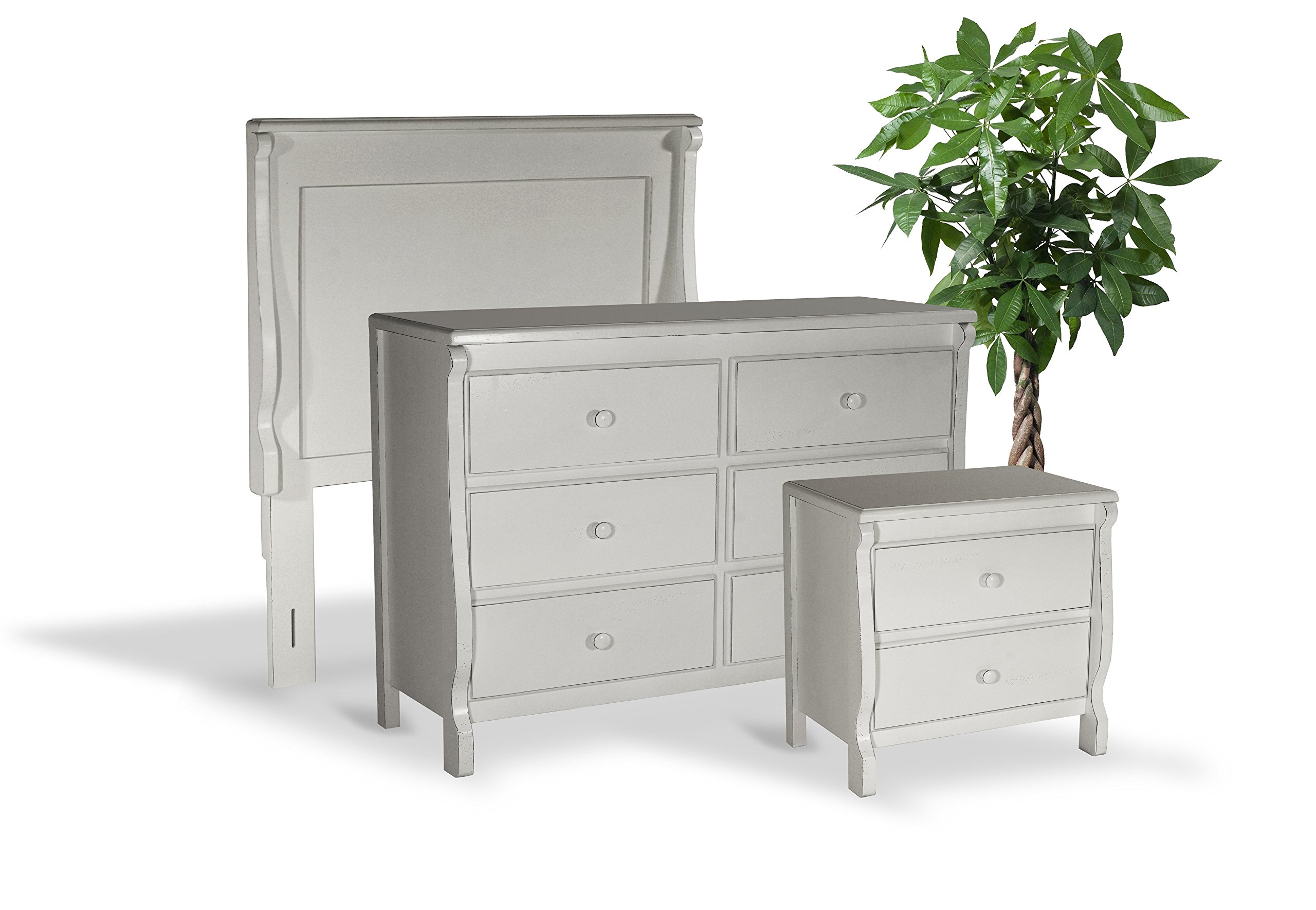 MILAN Sleep+Store M3I1L1A5N, Bedroom Furniture All Wood Fully Assembled Ready to Use in Fashionable Hand Finished Antiqued, Group with Headboard to Transform Sleep Areas, White, 3 Piece
