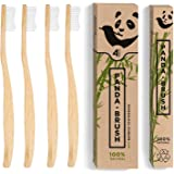 Bamboo Toothbrush 'The Panda Brush' - Eco Friendly Patented Ergonomic Wooden Handle - BPA Free & 100% Plastic-Free - Organic Biodegradable Wood Toothbrushes - Medium Bristles (4 pack Adult Size)