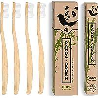 Bamboo Toothbrush 'The Panda Brush' - Plastic Free Premium Ergonomic Wooden Handle - BPA Free & 100% Organic Biodegradable Wood Toothbrushes - Medium Bristles (4 Pack Adult Size)